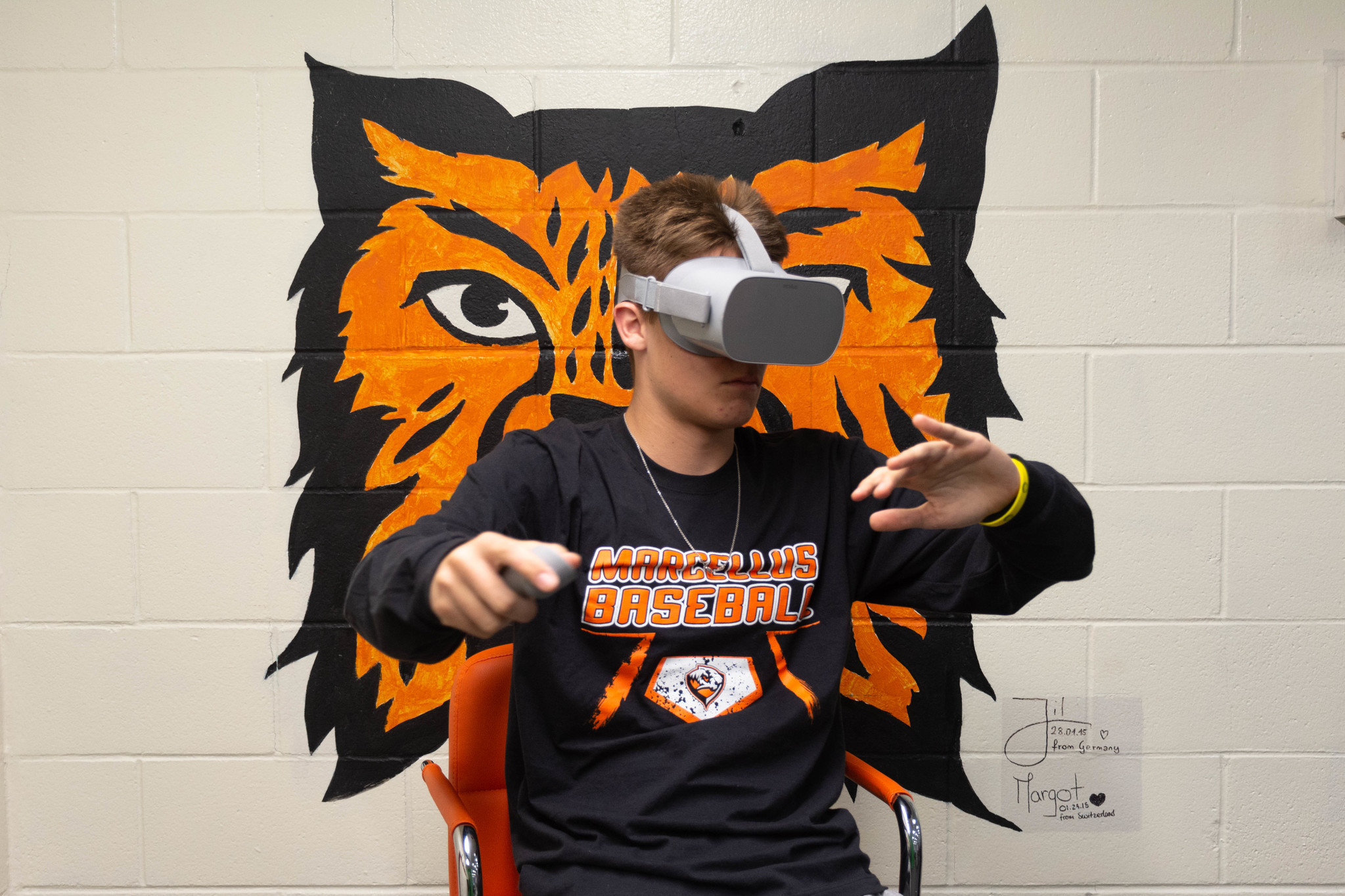 Student using VR headset